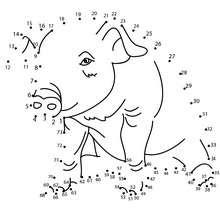 Cochon - Jeux - Jeux de Points à relier - Points à relier Animaux difficiles