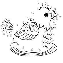 Petite poulette - Jeux - Jeux de Points à relier - Points à relier Animaux difficiles