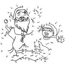 Père Noël et lutin - Jeux - Jeux des fêtes - Jeux de Noël - Points à relier Noël