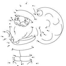 Père Noël et sa hotte - Jeux - Jeux des fêtes - Jeux de Noël - Points à relier Noël