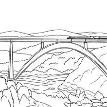 Train sur le pont à colorier - Coloriage - Coloriage VEHICULES - Coloriage TRAIN - Coloriages TRAINS