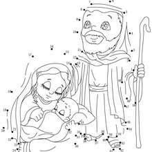 Sainte Famille - Jeux - Jeux des fêtes - Jeux de Noël - Points à relier Noël