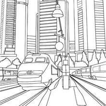 Coloriage : TGV dans la ville à colorier