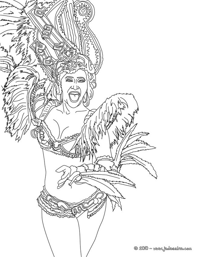 Coloriage Carnaval Bresilien.Coloriages Bresilienne Deguisee Carnaval Rio A Colorier Fr