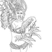 Coloriage : Brésilienne déguisée carnaval Rio à colorier