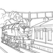 Locomotive en gare à colorier - Coloriage - Coloriage VEHICULES - Coloriage TRAIN - Coloriages TRAINS