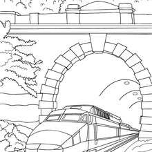 Thalys sous le pont à colorier - Coloriage - Coloriage VEHICULES - Coloriage TRAIN - Coloriages TRAINS
