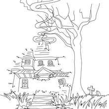 Maison hantée - Jeux - Jeux de Points à relier - Points à relier Halloween