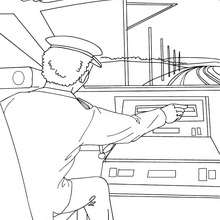 Chauffeur de train aux commandes - Coloriage - Coloriage VEHICULES - Coloriage TRAIN - Coloriages TRAINS