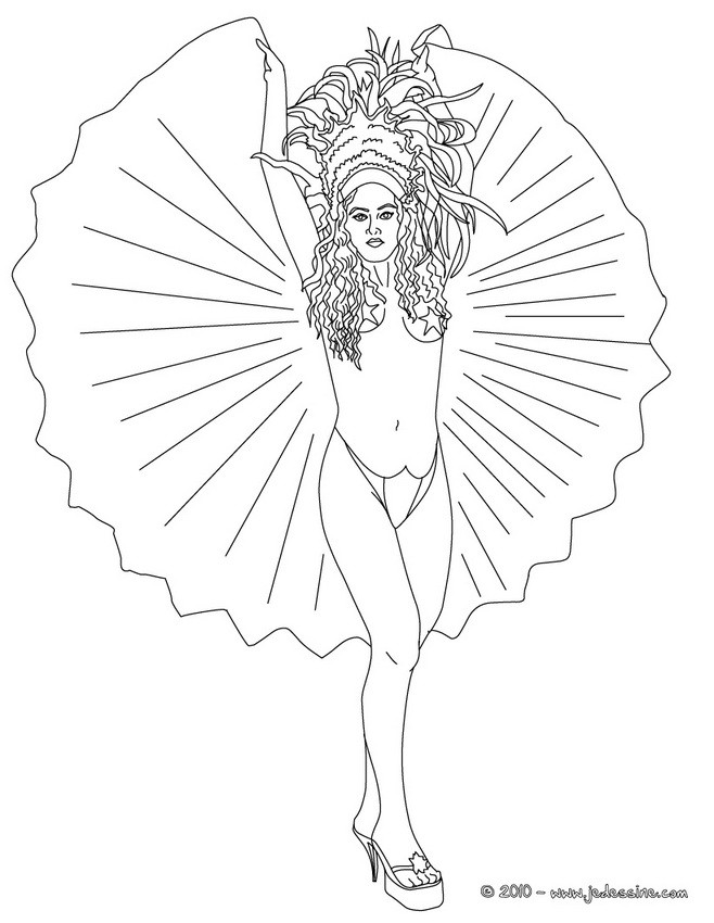Coloriage Carnaval Bresilien.Coloriages Bresilienne Robe Carnaval Rio A Colorier Fr