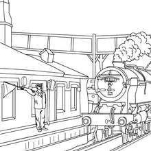 Coloriage : La locomotive entre en gare