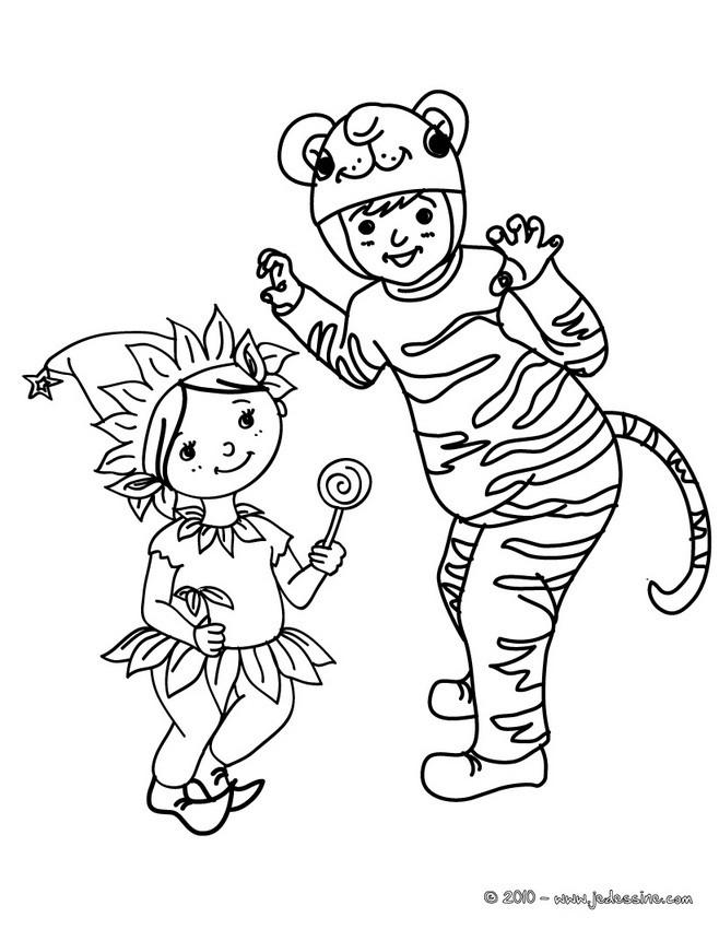 Coloriage costume carnaval enfants
