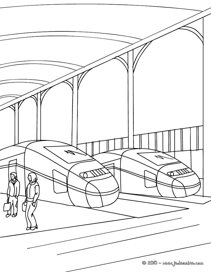Comment dessiner une gare - Train coloriage ...