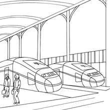 2 trains en gare à colorier - Coloriage - Coloriage VEHICULES - Coloriage TRAIN - Coloriages TRAINS