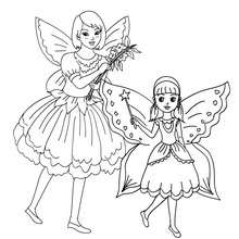 Coloriage costume carnaval petites fées - Coloriage - Coloriage FETES - Coloriage CARNAVAL - Coloriage CARNAVAL COSTUMES