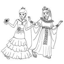 Coloriage costume carnaval reines - Coloriage - Coloriage FETES - Coloriage CARNAVAL - Coloriage CARNAVAL COSTUMES