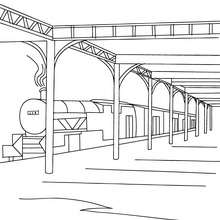 Train en gare à colorier - Coloriage - Coloriage VEHICULES - Coloriage TRAIN - Coloriages TRAINS
