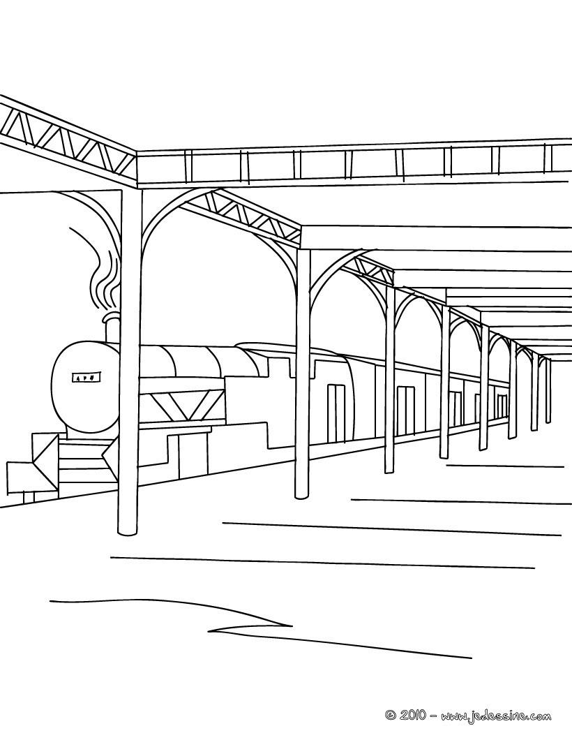 Coloriages train en gare colorier - Train en dessin ...