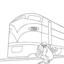 Réparateur de train à colorier - Coloriage - Coloriage VEHICULES - Coloriage TRAIN - Coloriages TRAINS