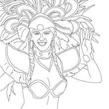 Coloriage : Brésilienne coiffe carnaval Rio à colorier