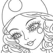 Portrait Colombine du carnaval à colorier