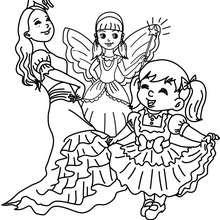 Déguisements filles costumes à colorier - Coloriage - Coloriage FETES - Coloriage CARNAVAL - Coloriage CARNAVAL COSTUMES