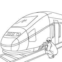 Mécanicien de train à colorier - Coloriage - Coloriage VEHICULES - Coloriage TRAIN - Coloriages TRAINS