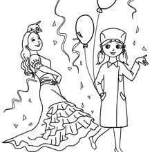 Espagnole et infirmière costumes à colorier - Coloriage - Coloriage FETES - Coloriage CARNAVAL - Coloriage CARNAVAL COSTUMES