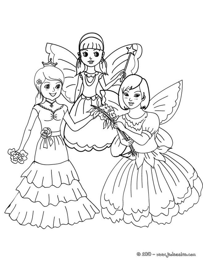 Coloriages fées et princesses à colorier - fr.hellokids.com