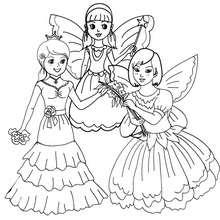 Fées et princesses à colorier - Coloriage - Coloriage FETES - Coloriage CARNAVAL - Coloriage CARNAVAL COSTUMES