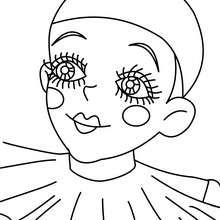 Portrait Pierrot du carnaval à colorier - Coloriage - Coloriage FETES - Coloriage CARNAVAL - Coloriage PERSONNAGES CARNAVAL