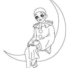 Pierrot sur la lune à colorier - Coloriage - Coloriage FETES - Coloriage CARNAVAL - Coloriage PERSONNAGES CARNAVAL