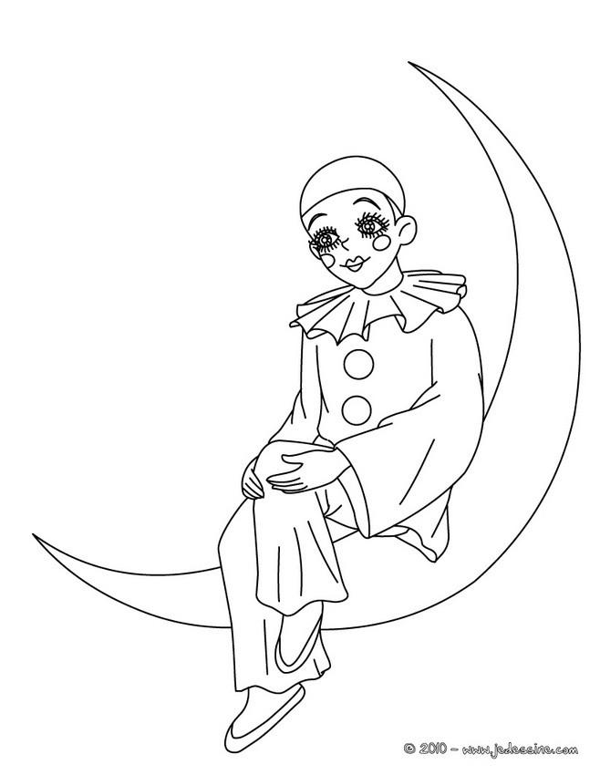 Coloriages pierrot sur la lune colorier - La lune coloriage ...