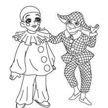 Pierrot et Arlequin à colorier - Coloriage - Coloriage FETES - Coloriage CARNAVAL - Coloriage PERSONNAGES CARNAVAL