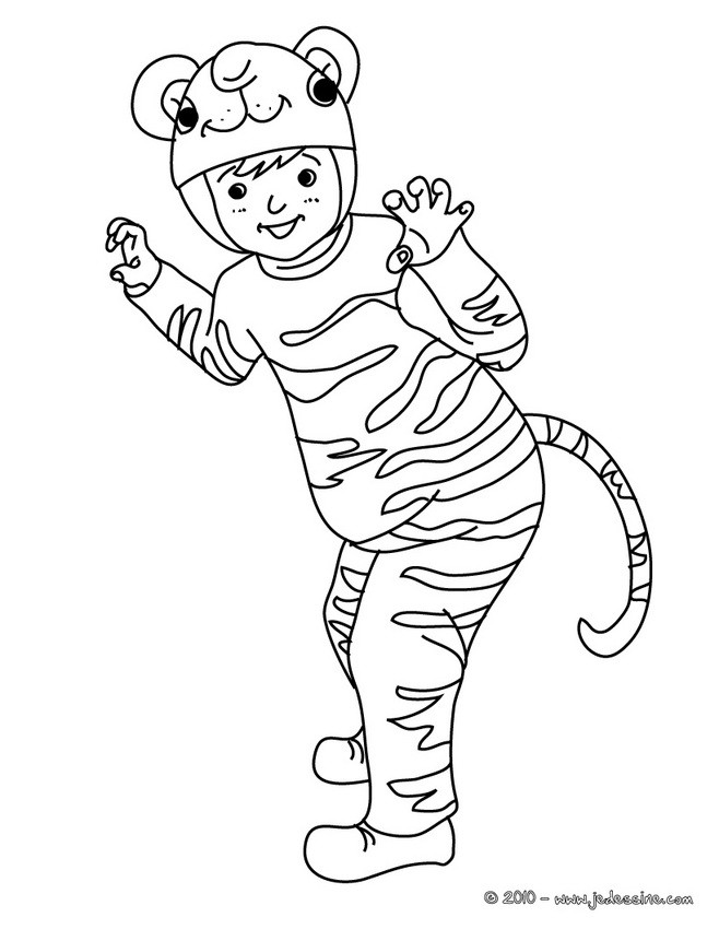 Coloriages coloriage costume carnaval tigre - Dessin carnaval ...