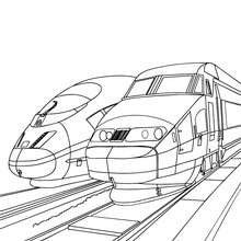 Coloriage de 2 TGV - Coloriage - Coloriage VEHICULES - Coloriage TRAIN - Coloriages TRAINS