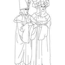 2 costumes Carnaval Venise à colorier - Coloriage - Coloriage FETES - Coloriage CARNAVAL - Coloriage CARNAVAL DE VENISE