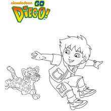 Coloriage DIEGO et le Tigre - Coloriage - Coloriage DESSINS ANIMES - Coloriage DIEGO