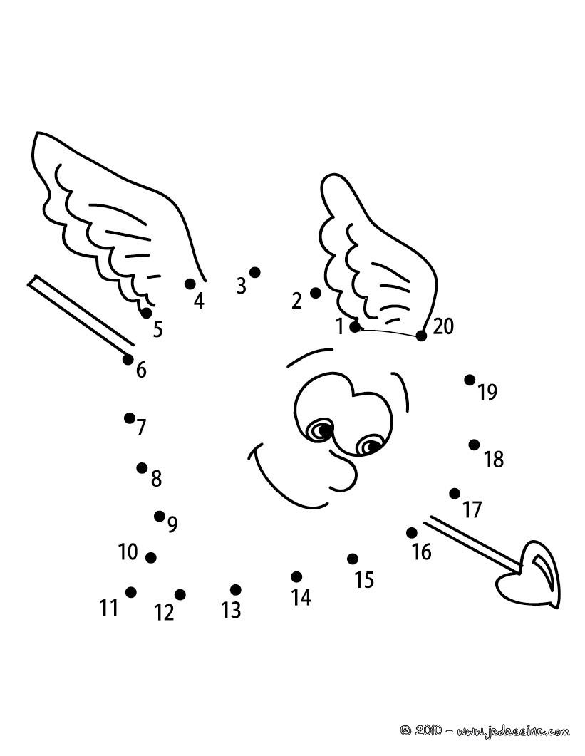 Jeu de points à relier : Coeur fléché points à relier facile