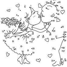 Jeu de points à relier : Les amoureux points à relier difficile