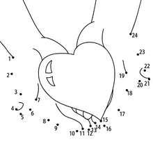 Cadeau coeur points à relier facile - Jeux - Jeux des fêtes - Jeux de la Saint-Valentin - Jeux des points à relier Saint Valentin