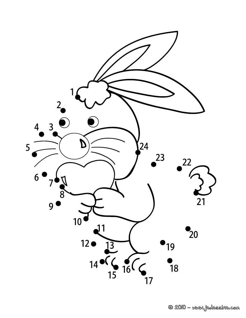 Coloriages lapin points relier facile - Point a relier enfant ...