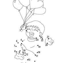 Enfant ballons points à relier facile - Jeux - Jeux des fêtes - Jeux de la Saint-Valentin - Jeux des points à relier Saint Valentin