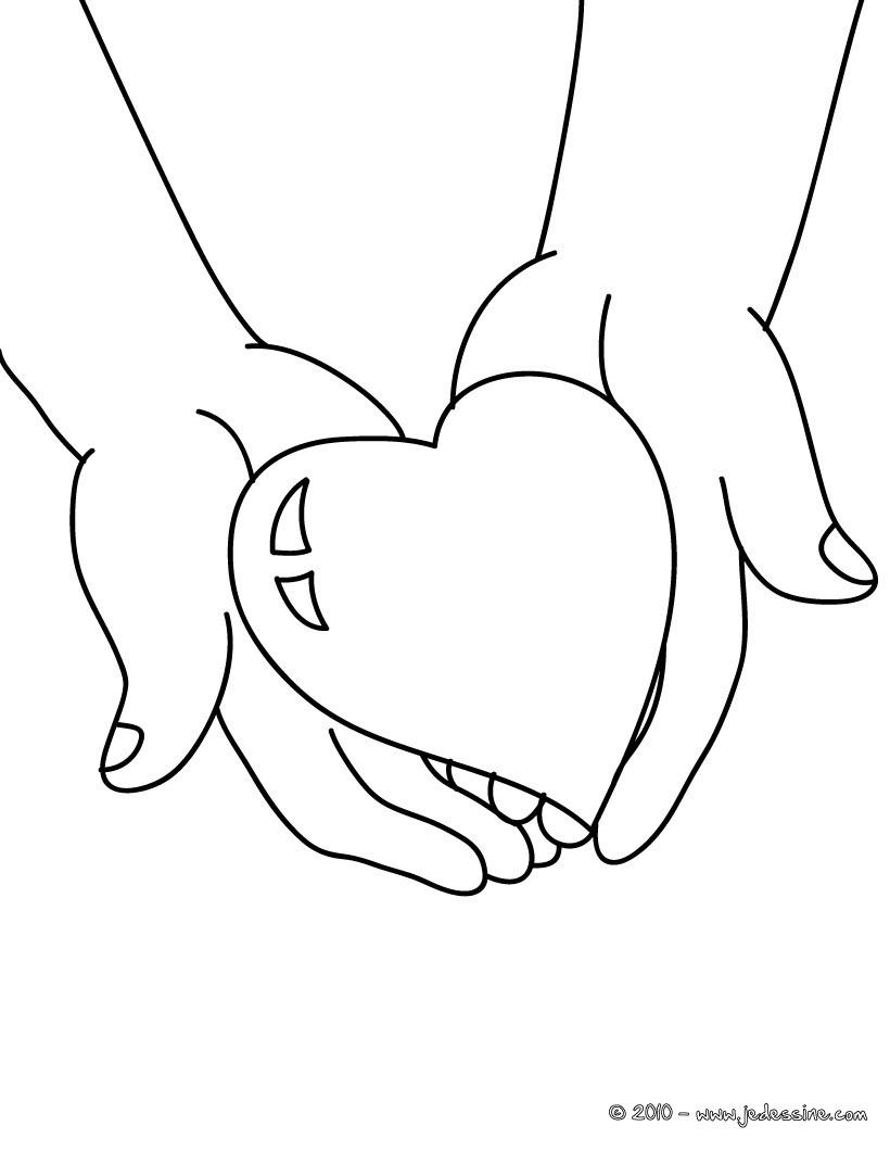 Coloriages coloriage gratuit coeur offrir - Dessin de mains ...