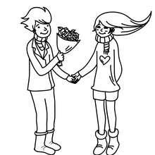 Amoureux au bouquet à colorier - Coloriage - Coloriage FETES - Coloriage SAINT VALENTIN - Coloriage COUPLE DE LA SAINT VALENTIN