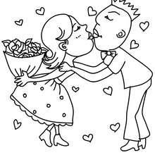 Couple d'amoureux à colorier - Coloriage - Coloriage FETES - Coloriage SAINT VALENTIN - Coloriage COUPLE DE LA SAINT VALENTIN