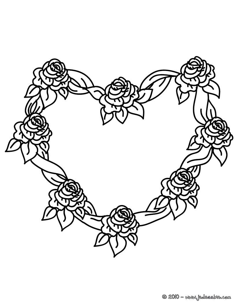 Coloriages coloriage gratuit coeur de roses - Rose coloriage ...