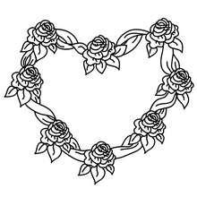 Coloriage gratuit coeur de roses - Coloriage - Coloriage FETES - Coloriage SAINT VALENTIN - Coloriage COEUR SAINT VALENTIN