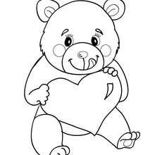 Coloriage ourson au coeur à imprimer