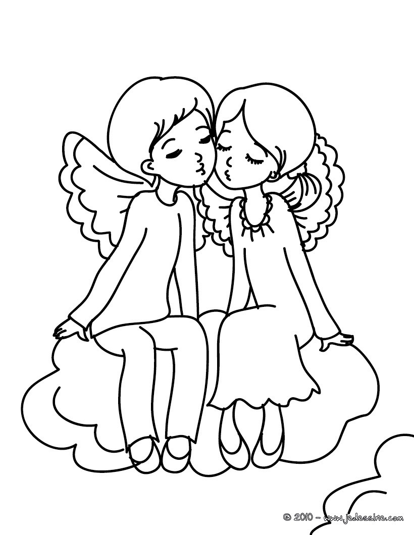 Coloriage gratuit 2 anges Saint Valentin